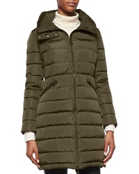 Moncler Flammette High Neck Puffer Coat Olive