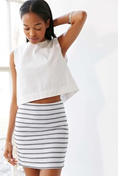 Silence And Noise Silence Noise Textured Striped Mini Skirt Black And White