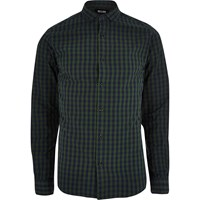 Only And Sons River Island Mens Navy Check Shirt