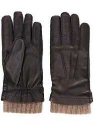 Loro Piana Rib Cuff Gloves Men Lamb Skin Cashmere M Brown