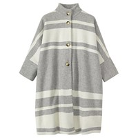 Toast Striped Hem Poncho Grey Marl White