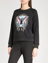 Maje Tory Embroidered Butterfly Jersey Sweatshirt Black 210