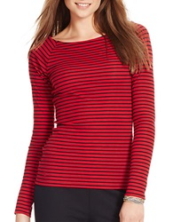 Lauren Ralph Lauren Petite Striped Ballet Neck Shirt Red Black