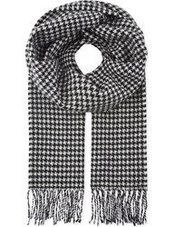 Sandro Houndstooth Printed Wool Scarf Black White
