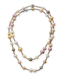 Belpearl 18K Long Multicolor Pearl And Labradorite Necklace 40
