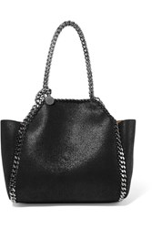 Stella Mccartney The Falabella Mini Reversible Faux Brushed Leather Tote Black