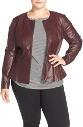 Sejour Plus Size Women's Leather Peplum Jacket