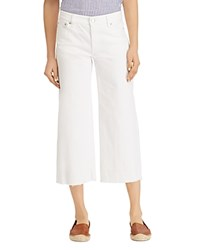 Ralph Lauren Wide Leg Released Hem Crop Jeans In White