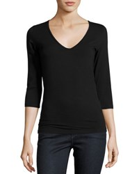 Majestic Soft Touch 3 4 Sleeve V Neck Tee Black