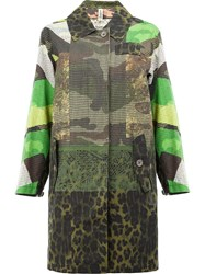 Herno Scale Print Panel Coat Green