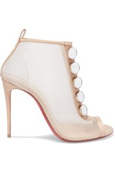 Christian Louboutin Marika 100 Leather Trimmed Mesh Ankle Boots Metallic