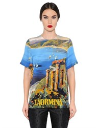 Dolce And Gabbana Taormina Printed Silk Crepe De Chine Top