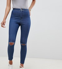 Asos Design Rivington High Waisted Jegging In Mid Wash With Knee Rips Mid Stone Wash Blue