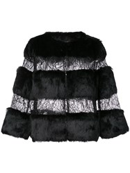 Alberto Makali Rabbit Fur And Sheer Jacket Black
