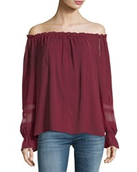 Ramy Brook Thea Off The Shoulder Long Sleeve Chiffon Top Dark Red