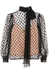 Costarellos Woman Pussy Bow Polka Dot Flocked Tulle Blouse Black