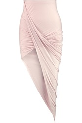 Helmut Lang Asymmetric Ruched Modal Mini Skirt Pink