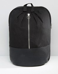 Asos Backpack With Front Metal Zip Black White