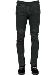 Balmain Coated Nappa Leather Biker Pants Dark Green