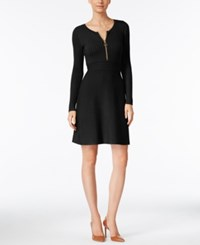 Inc International Concepts Petite Fit And Flare Sweater Dress Only At Macy's Deep Black