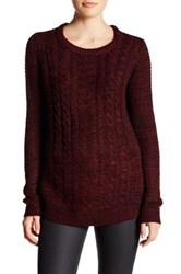 Research And Design Long Sleeve Cable Knit Sweater Red