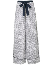 The Upside Anchor Print Wide Leg Trousers White