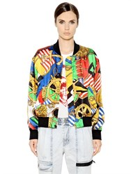 Love Moschino Printed Viscose Satin Bomber Jacket