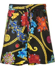 Versace Baroque And Floral Print Shorts Black