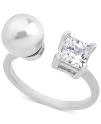 Majorica Sterling Silver Square Cubic Zirconia And Imitation Pearl Open Ring White