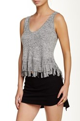Riller And Fount Cricket Scoop Neck Fringe Tank Gray