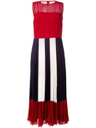 Red Valentino Sheer Pleated Dress Red