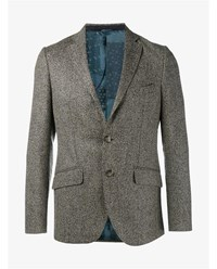Etro Wool Blend Herringbone Blazer Sand Blue White Denim