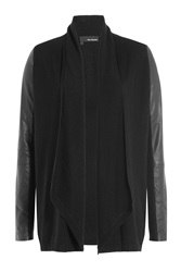 The Kooples Merino Wool And Faux Leather Cardigan Black