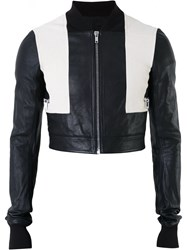 Rick Owens Cropped Bomber Jacket Men Cotton Goat Skin 46 Black