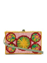 Sophie Anderson Mia Woven Raffia Cross Body Bag Green Multi