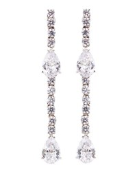 Fantasia Cz Round And Pear Cut Linear Earrings