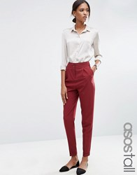 Asos Tall Tailored High Waisted Trousers With Turn Up Detail Claret