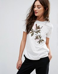 Y.A.S Floral Embroidered Jersey T Shirt Sniow White