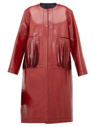 Sara Lanzi Fringed Coated Wool Blend Coat Red