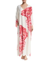 Natori Peony Drop Sleeve Lounge Caftan White Pattern