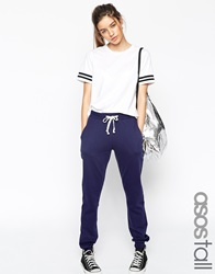 Asos Tall Lightweight Joggers With Contrast Tie Navy