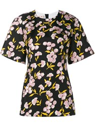 Marni Floral Print Cotton Silk Blend Short Sleeve Top Black