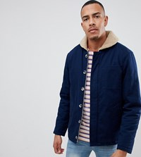 Jacamo Tall Borg Collar Jacket In Canvas Navy