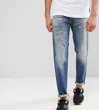 Selected Homme Tall Jeans In Tapered Fit With Rip Repair Italian Denim Blue 6108