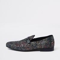River Island Grey Jacquard Snaffle Loafers