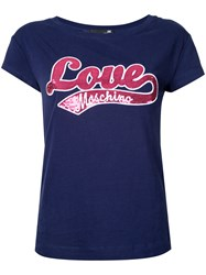 Love Moschino Logo Front T Shirt Blue