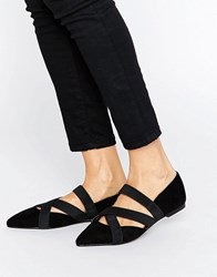 Asos Ladder Elastic Detail Pointed Ballet Flats Black
