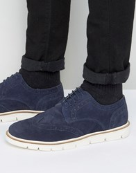 Frank Wright Brogues Navy Suede Navy Blue