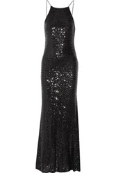 Badgley Mischka Draped Sequined Tulle Gown Black