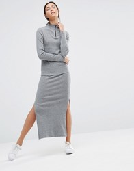 Pieces Pica Ribbed Maxi Skirt Dark Grey Melange